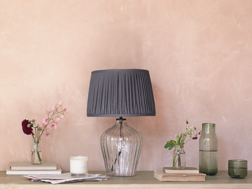 Flute small glass table lamp Graphite pleated shade