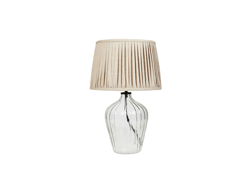 Flute small glass table lamp with Natural pleated shade