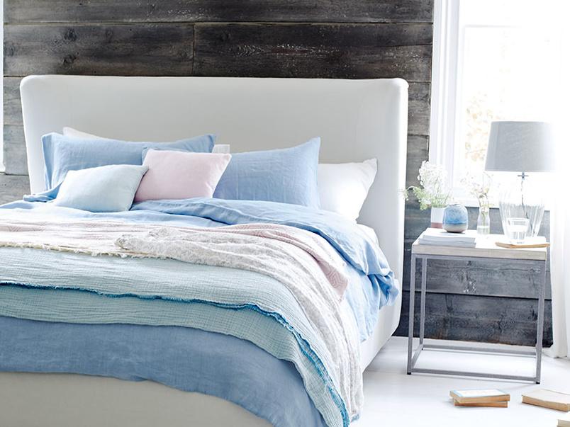 Cornflower blue lazy linen bed linen