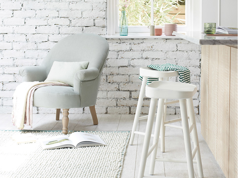 Bumble wooden bar stools in Calm White