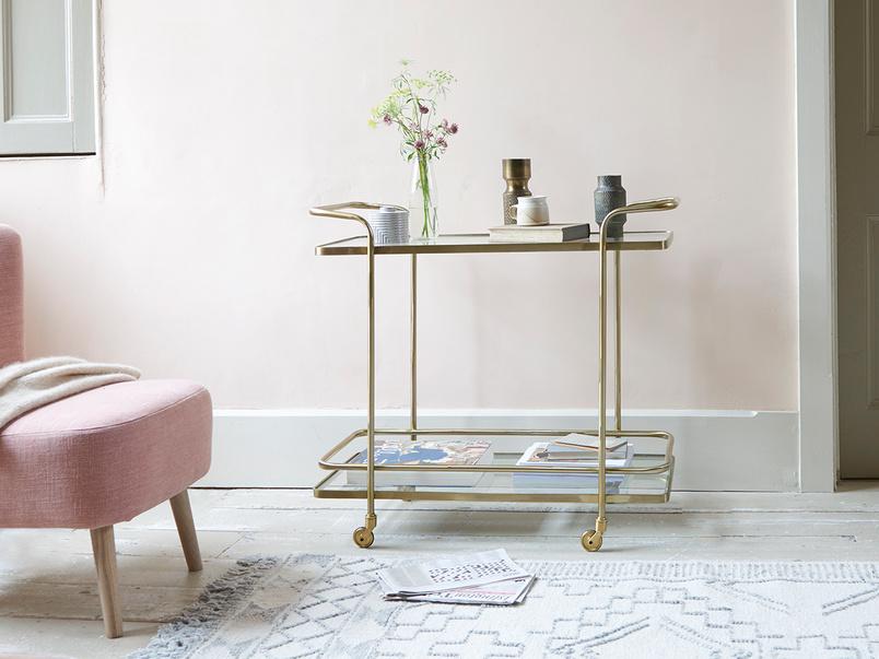 Big Soak antique brass console drinks trolley