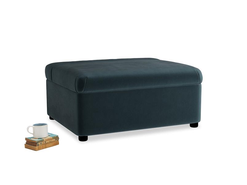 Single Bed in a Bun in Bluey Grey Clever Deep Velvet