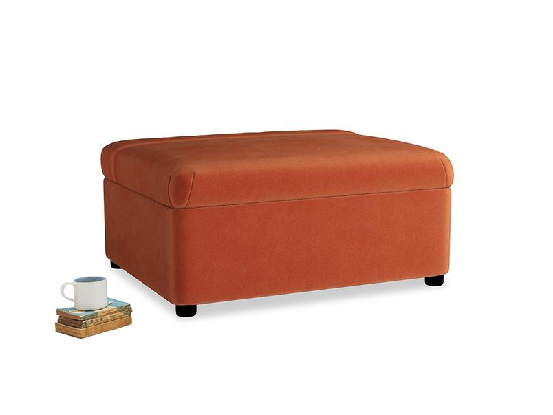 Single Bed in a Bun in Old Orange Clever Deep Velvet