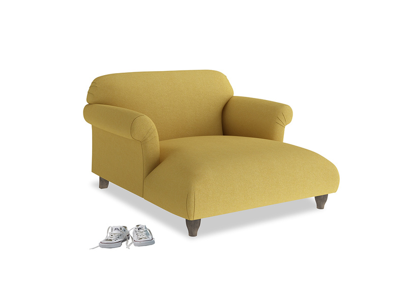 Love Seat Chaise Soufflé Love Seat Chaise in Easy Yellow Clever Woolly Fabric