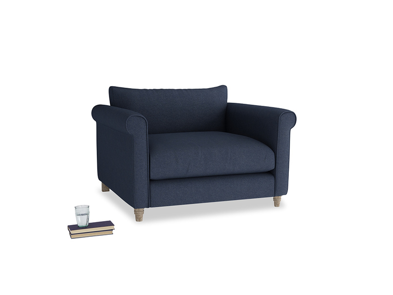 Love Seat Weekender Love seat in Night Owl Blue Clever Woolly Fabric