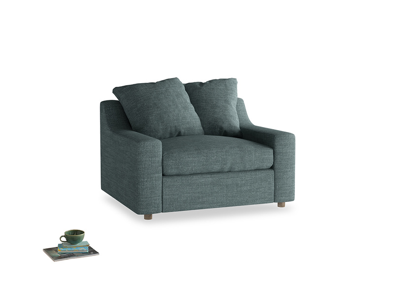 Cloud Love Seat Sofa Bed in Anchor Grey Laundered Linen
