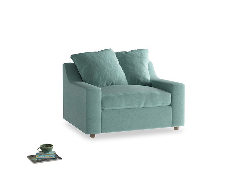 Love Seat Sofa Bed Cloud love seat sofa bed in Greeny Blue Clever Deep Velvet