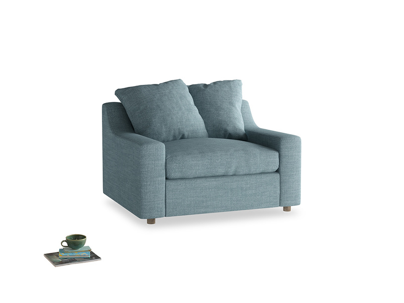 Love Seat Sofa Bed Cloud love seat sofa bed in Soft Blue Clever Laundered Linen