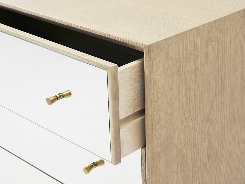 Young Trixie mirrored chest of drawers draw open