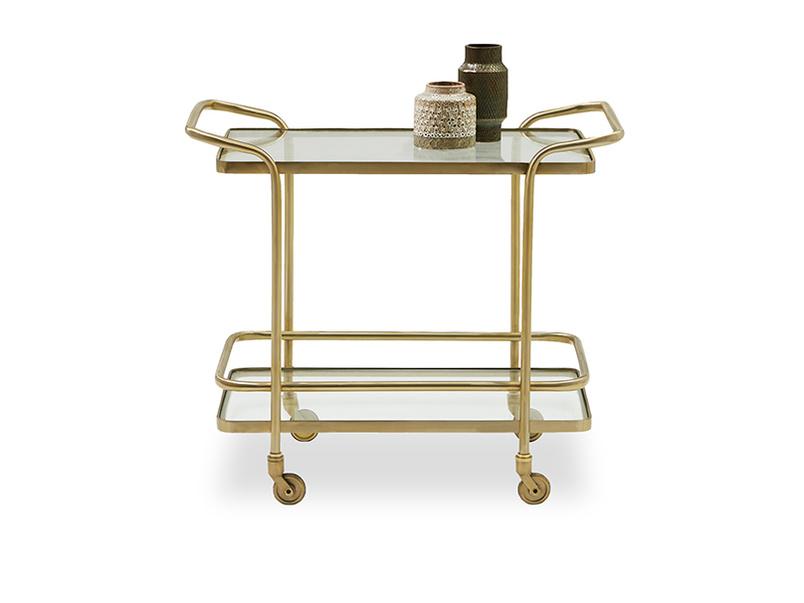 Little Soak brass and glass drinks trolley