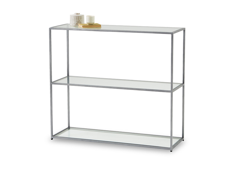 Low Wolfie industrial style glass and metal shelf