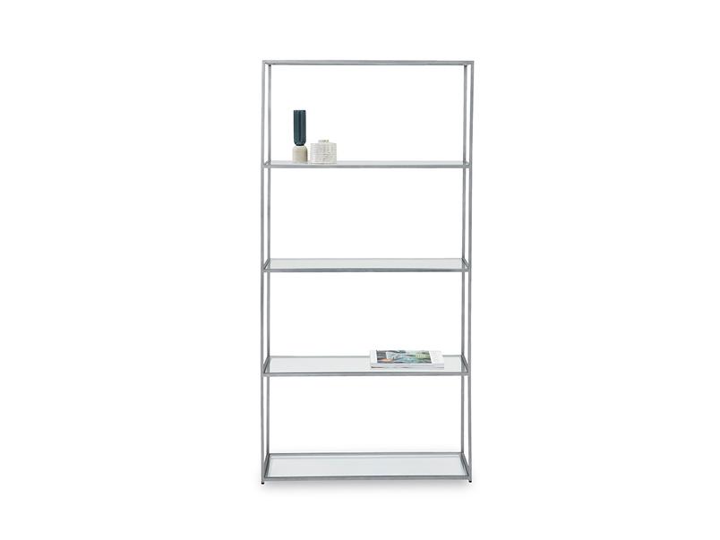 Tall Wolfie industrial style glass shelf