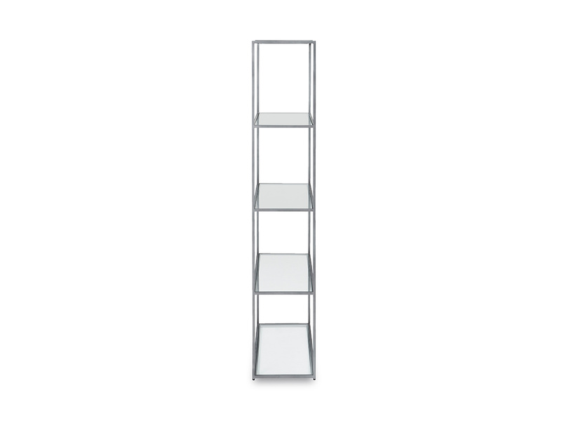 Tall Wolfie glass shelf side detail