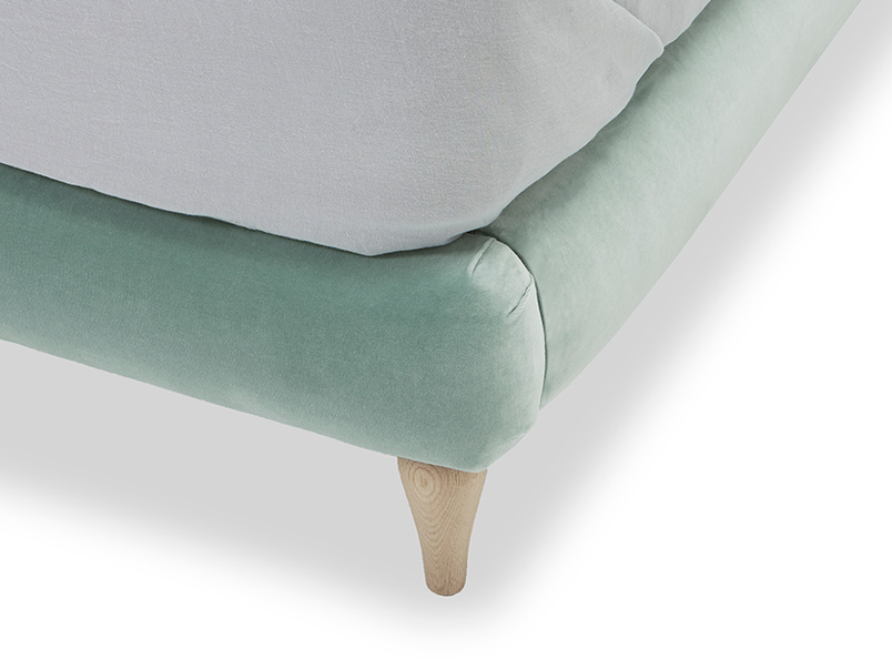Chit Chat upholstered bed leg detail