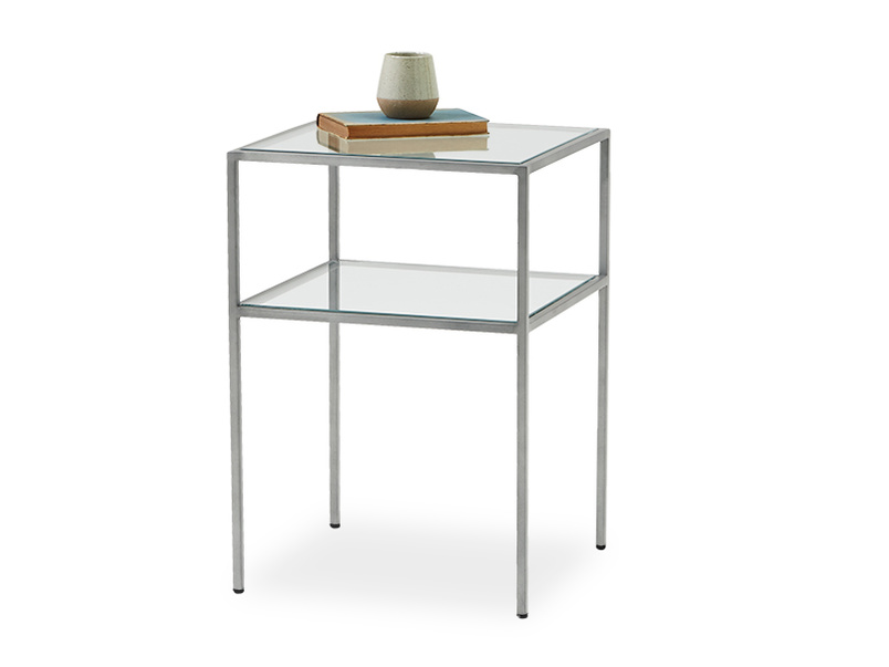 Little Wolfie metal and glass side table