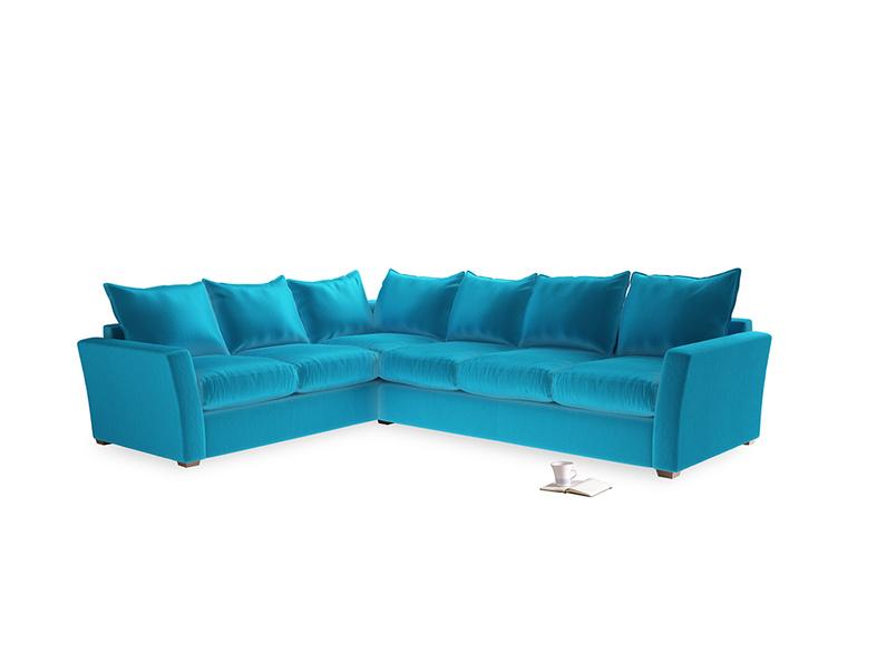 Xl Left Hand Pavilion Corner Sofa Bed in Azure Plush Velvet