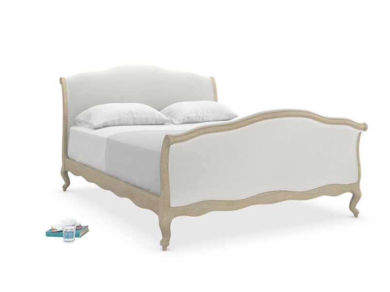 French antique style upholstered Antoinette sleigh bed handmade from solid weathered oak