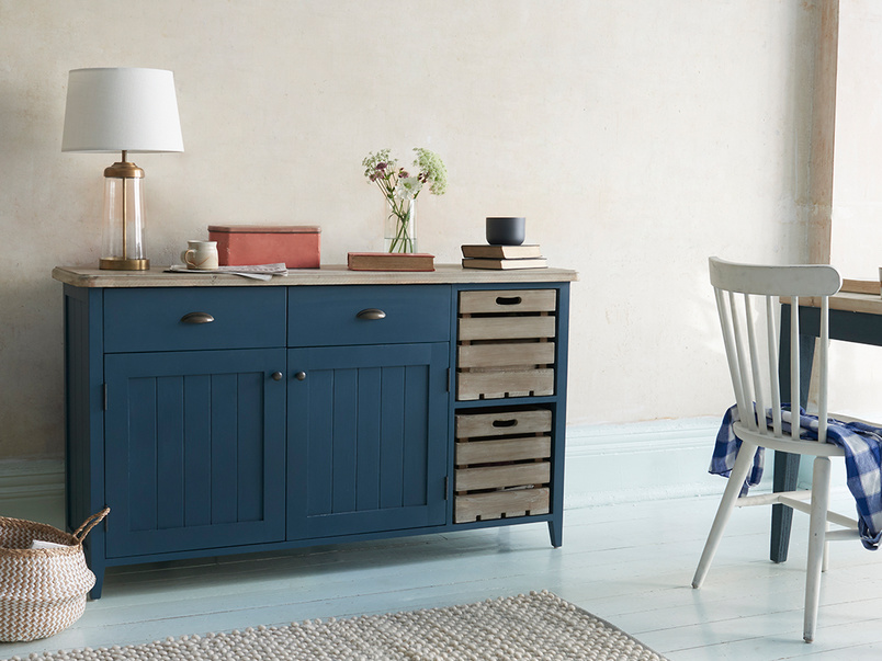 Cidre wooden sideboard in Inky Blue paint
