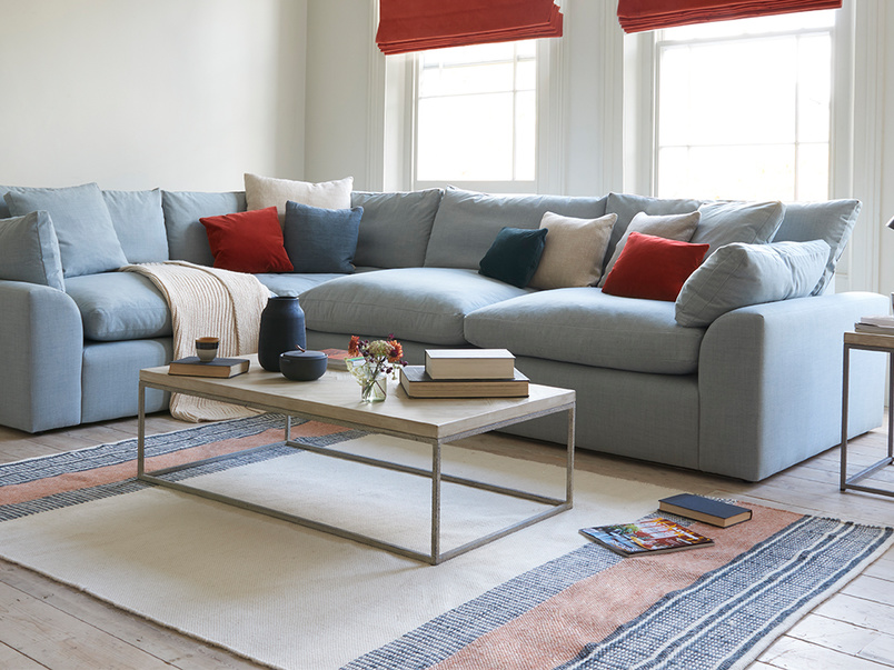 Parker coffee table and Cuddlemuffin large comfy modular sofa