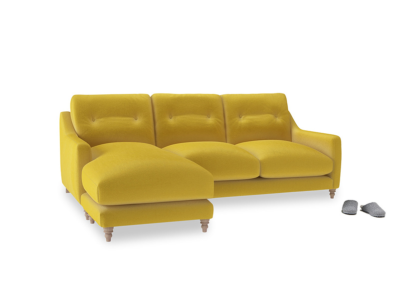 Large left hand Slim Jim Chaise Sofa in Bumblebee clever velvet