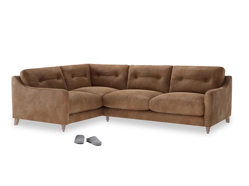Large Left Hand Slim Jim Corner Sofa in Walnut beaten leather