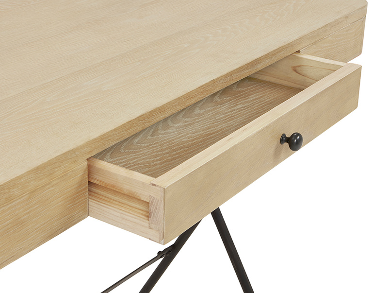 Jotter slim line wooden desk open drawer