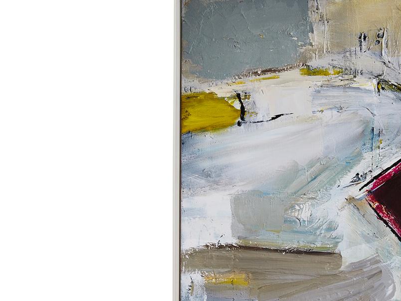 Ben Lowe's Helter Skelter framed art canvas print on white wooden frame