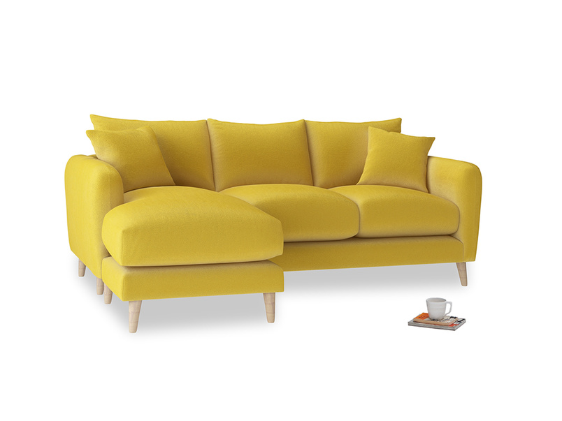 Large left hand Squishmeister Chaise Sofa in Bumblebee clever velvet