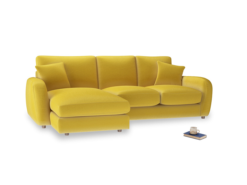 Large left hand Easy Squeeze Chaise Sofa in Bumblebee clever velvet