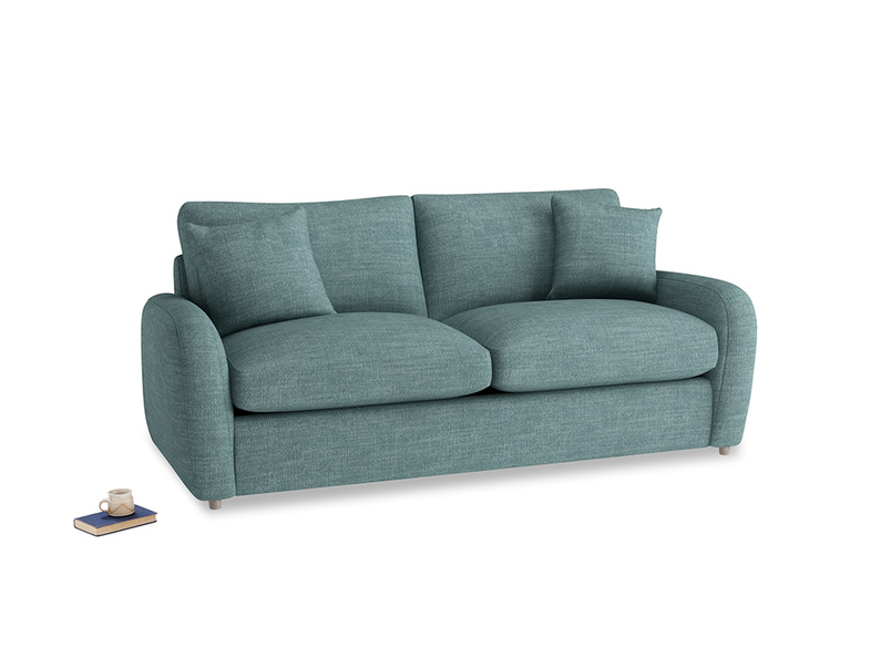 Medium Easy Squeeze Sofa Bed in Blue Turtle Clever Laundered Linen
