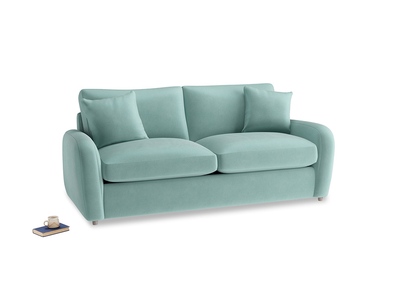 Medium Easy Squeeze Sofa Bed in Greeny Blue Clever Deep Velvet