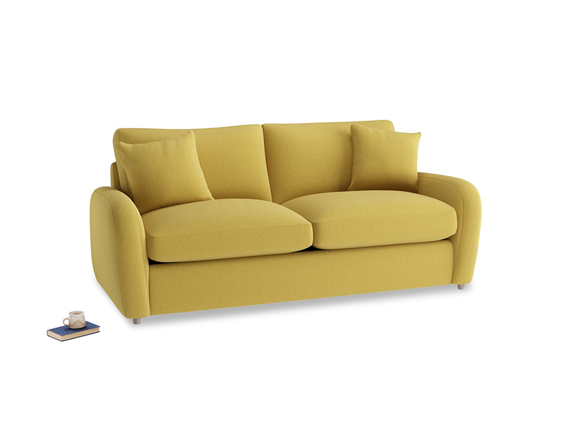 Medium Easy Squeeze Sofa Bed in Maize yellow Brushed Cotton