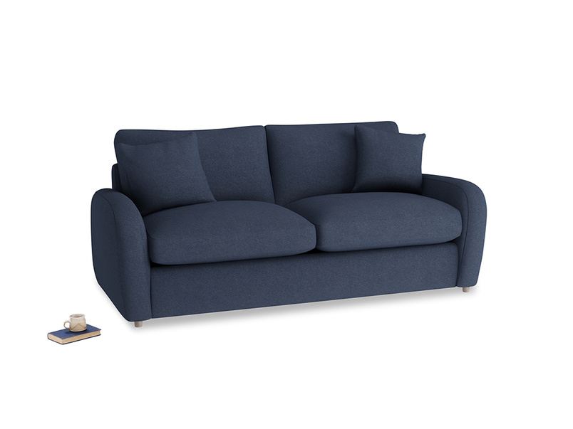 Medium Easy Squeeze Sofa Bed in Night Owl Blue Clever Woolly Fabric
