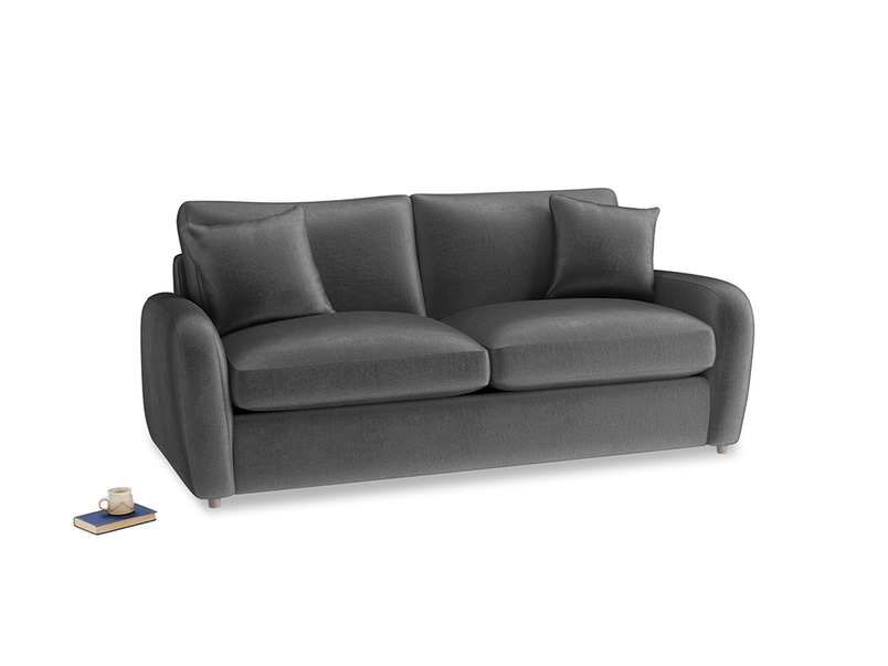 Medium Easy Squeeze Sofa Bed in Scuttle grey vintage velvet