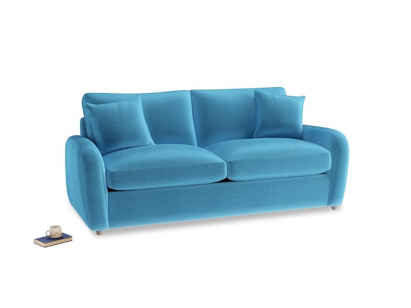 Medium Easy Squeeze Sofa Bed in Teal Blue plush velvet