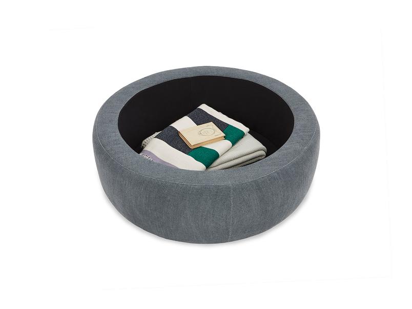 Pot Pie Upholstered Storage Footstool storage detail