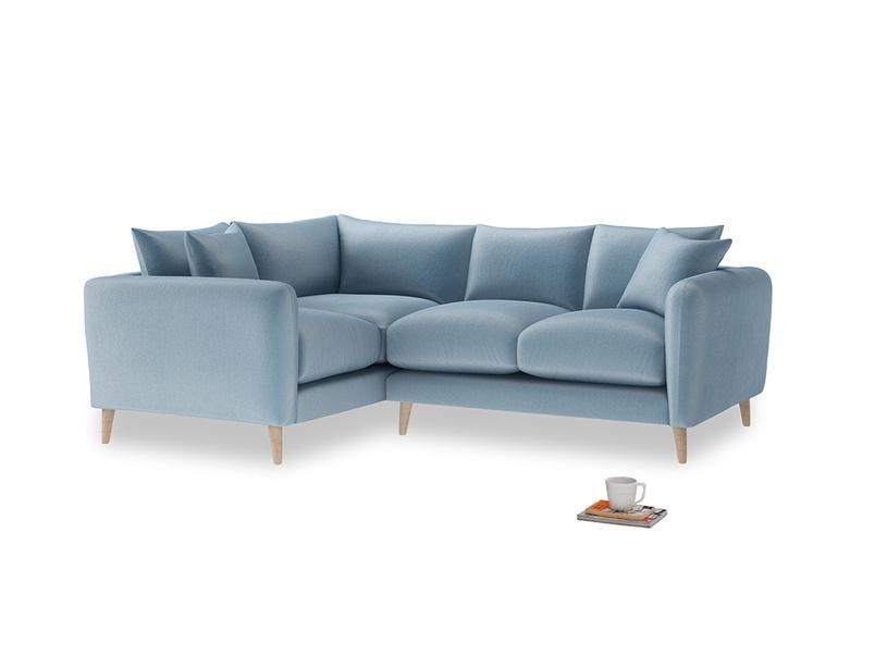 Large Left Hand Squishmeister Corner Sofa in Chalky blue vintage velvet