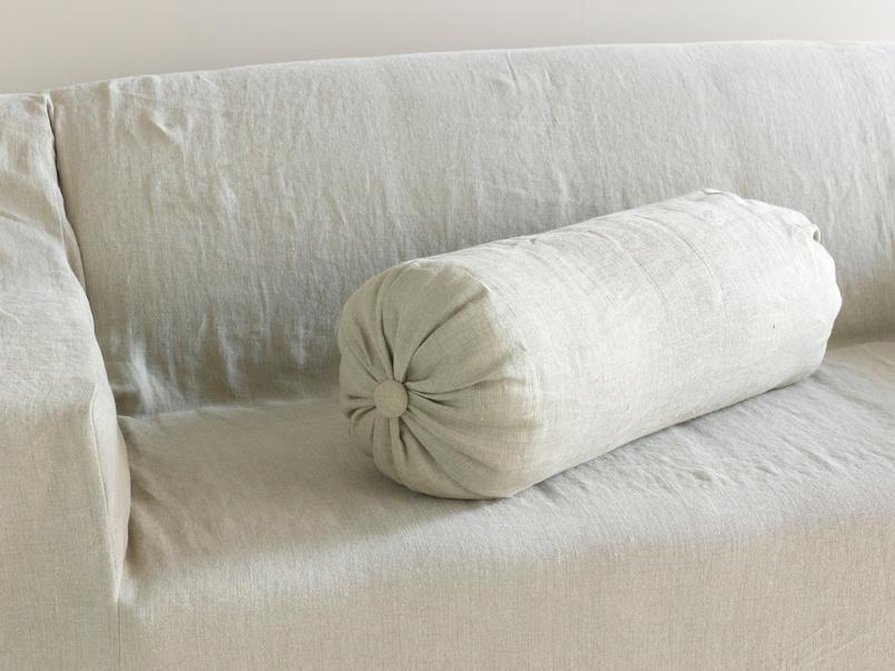 Lovely handmade large linen Bolster cushion