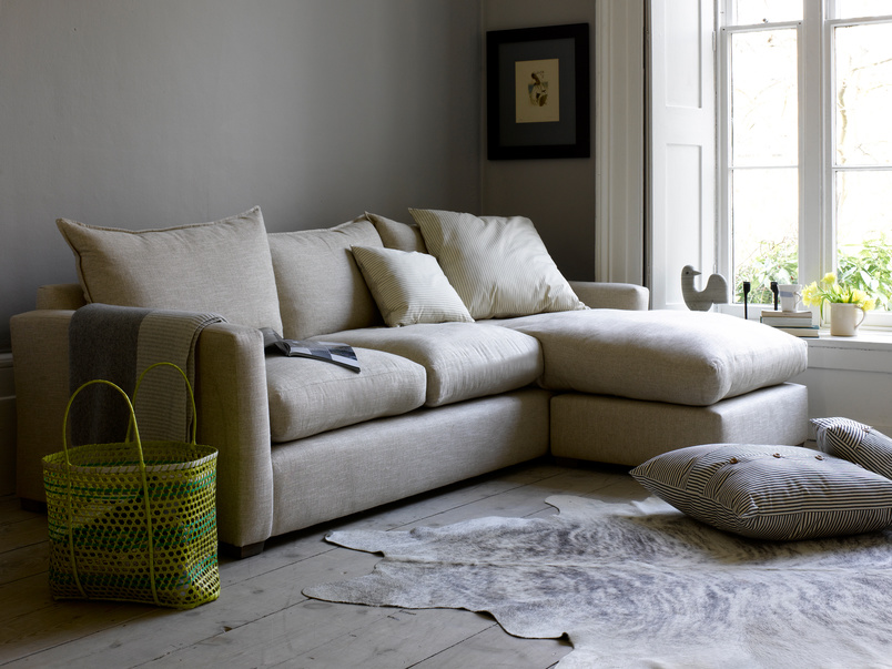 Pavilion Chaise corner sofa, contemporary and extra comfy in Thatch house fabric