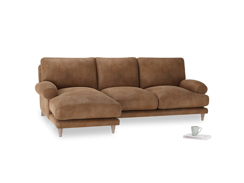 Large left hand Slowcoach Chaise Sofa in Walnut beaten leather