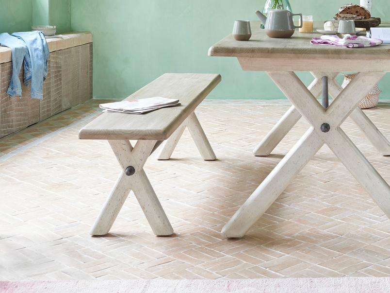 Scoff Wooden Cross Leg Kitchen Bench