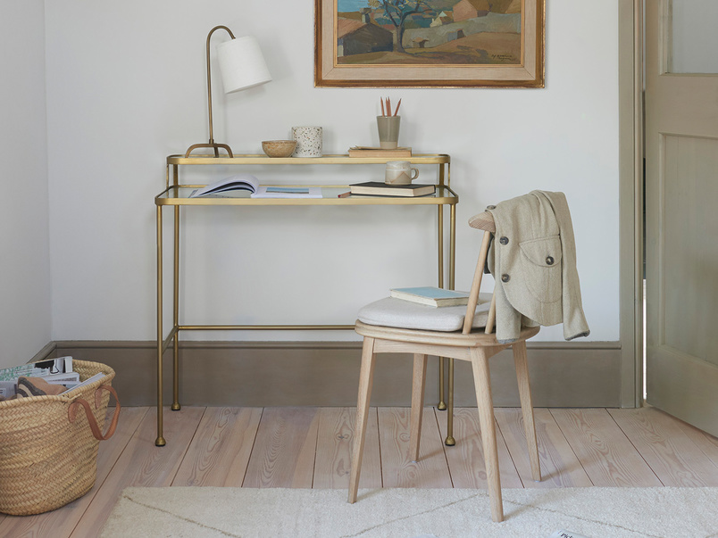 Showtime Modern Brass Frame and Glass Dressing Table