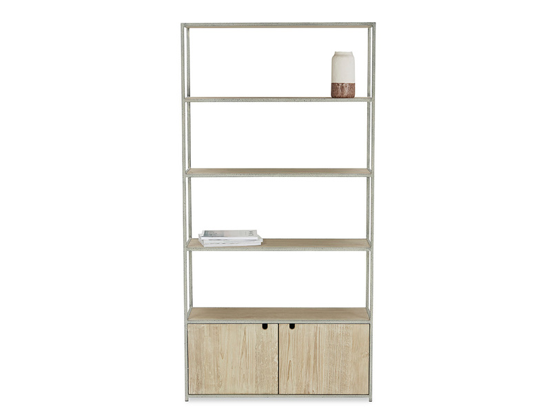 Tall Tim Slimline Rustic Wooden Shelves with Cupboards