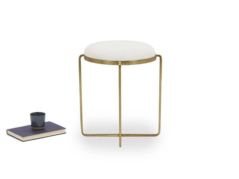 Footlight Brass and linen Dressing Table Stool