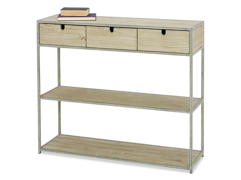 Side Tim Industrial Console With Shelves Angle