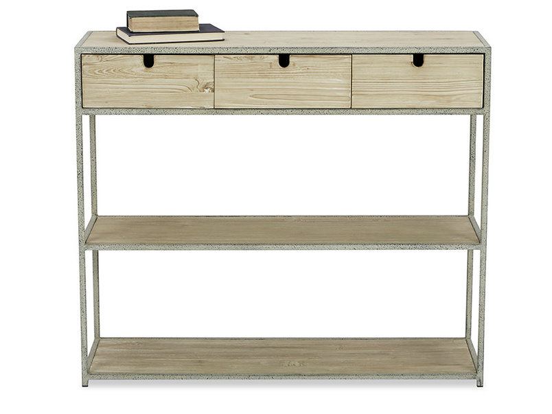 Side Tim Industrial Console With Shelves