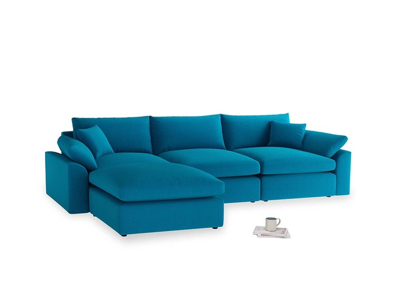 Large left hand Cuddlemuffin Modular Chaise Sofa in Bermuda Brushed Cotton