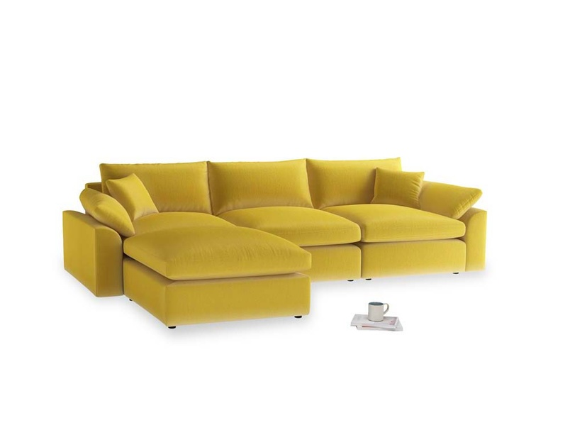 Large left hand Cuddlemuffin Modular Chaise Sofa in Bumblebee clever velvet