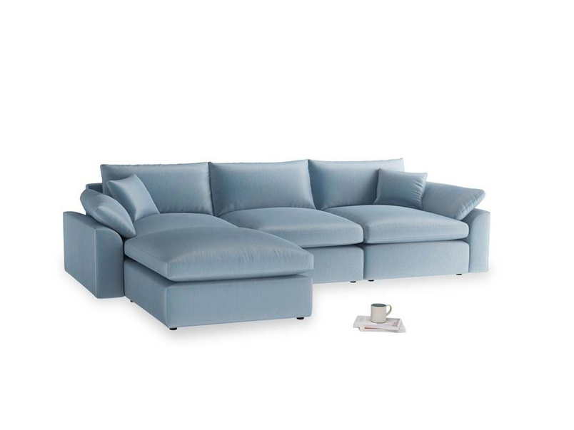 Large left hand Cuddlemuffin Modular Chaise Sofa in Chalky blue vintage velvet