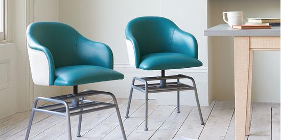 Milkshake retro leather kitchen dining chair in Teal